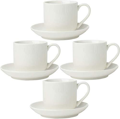 Comfify Espressotassen 4er Set mit passenden Untertassen - Hochwertiges weißes Porzellan, 8-teiliges Geschenkkarton