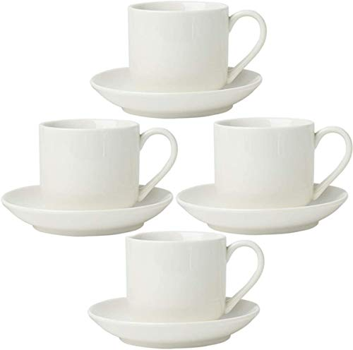 4oz. Espresso Cups Set of 4 With Matching Saucers - Premium White Porcelain, 8 Piece Gift Box Demitasse Set – Italian Caffè Mugs, Turkish Coffee Cup – Lungo Shots, Dopio Double Shot