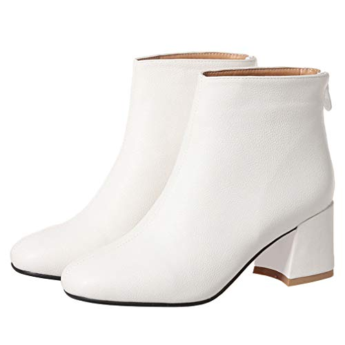 Caradise Womens Square Toe Chunky Heel Booties Zip Up Work Ankle Boots Size 8.5 B(M) US,White