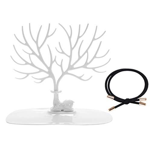 LIHAEI Schmuckbaum aus Kunststoff Geweih, Hirschkopf Schmuckständer für Ketten Ohrringe Ringe - Deko Schmuck Aufbewahrung - Moderner Stil Ständer (Weiß)