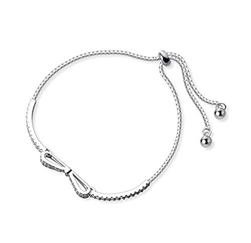 Pulsera de plata con lazo de diamante de destello ajustable, regalo de aniversario de cumpleaños para mujeres