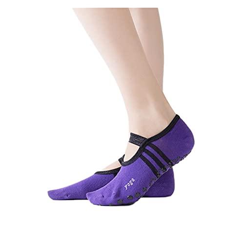 RHoet Calcetines de Yoga Mujeres Pilates Socks Ballet de Mujeres Yoga Danza Baja para Ayudar a Calcetines Calcetines de algodón Anti-Patinaje (Color : Deep Purple)