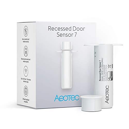 Zwave Door Sensor Aeotec Recessed Door Sensor 7, Z-Wave Plus Enabled Smart Door Sensor Battery Powered, SmartStart S2, Zwave Hub Required SmartThings Fibaro Home Centre 3 Hubitat