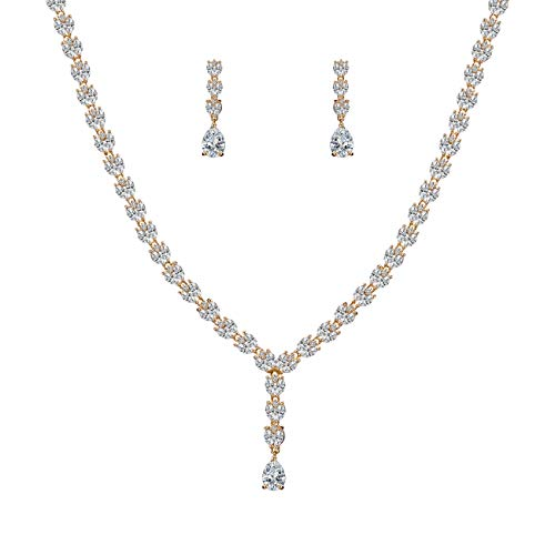 WeimanJewelry Silver/Gold Plated Women Cubic Zirconia CZ Bridal Marquise Tennis Necklace with Long Teardrop Pendant and Dangle Earrings Set for Bride Wedding Jewelry (Gold)