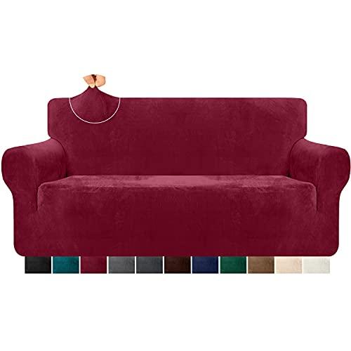Granbest Funda de sofá de terciopelo supersuave de 3 plazas, elegante y lujosa funda de sofá de felpa con bandas de espuma de spandex reforzado, para la protección de muebles, 1 unidad, rojo vino