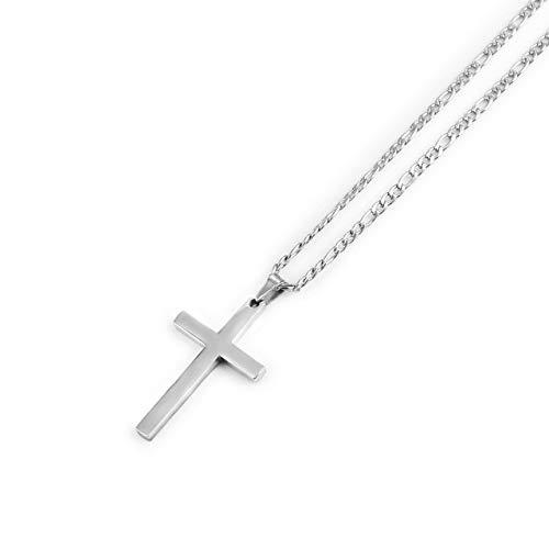 BJGCWY Collares Pendientes Cruzados para Hombres y Mujeres, Collar Colgante de Acero Inoxidable 45 cm Plata 3 mm
