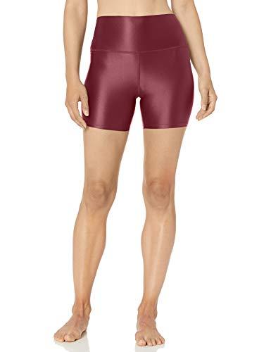 Amazon Brand - Core 10 Women's Icon Series Liquid Shine High Waist Yoga Short – 5 Merlot, X-Large