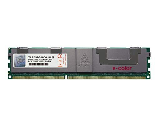 V-Color 32GB (1 x 32GB) Quad Rank Server Memory RAM Modul Upgrade DDR3 1600MHz (PC3-12800) lastreduziertes DIMM mit Kühlkörper 1,35V CL11 4Rx4 (TLR332G16Q411L)