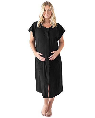 Kindred Bravely Universal Labor and Delivery Gown | 3 in 1 Labor, Delivery, Nursing Gown for Hospital (Black, S-M-L)
