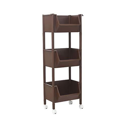 WUDAXIAN Badezimmer-Regal-Flaschenzug, den es bewegen kann, Rollen-Landungs-Kleiner Trolley-Lagerregal-Kabinett-3. Stock für Badezimmer-Küche (Farbe : #3)