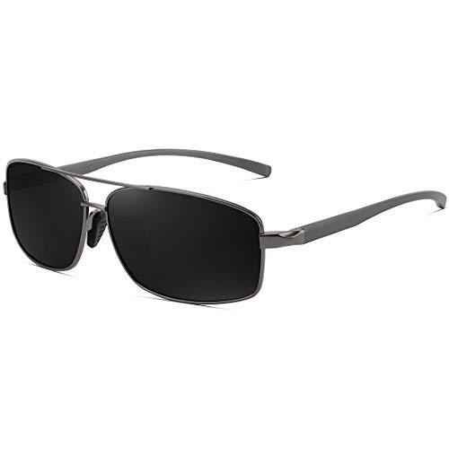 WOWSUN矩形偏光太阳镜男性金属框架酷太阳眼镜防紫外线的驾驶高尔夫