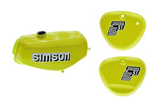 Tank Set Seitendeckel S51 E Enduro Schwefelgelb innen versiegelt mit Aufkleber Simson