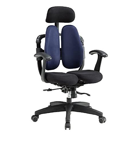 オフィスチェア HARA Chair ハラチェア GET ゲット 姿勢改善 ワークチェア 事務椅子 デュアルシート ヘッドレスト付 腰痛 デスクチェア 楽な姿勢 ドクターチェア (ネイビー)