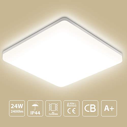 Oeegoo 24W LED Deckenleuchte, 2400lm Bürodeckenleuchte, Balkonleuchte, Balkonlicht, Badezimmerleuchte, Badezimmerlampe, Innenleuchte, Außenleuchte, IP44 spritzwassergeschützt, 33 * 33 * 4.8/CM