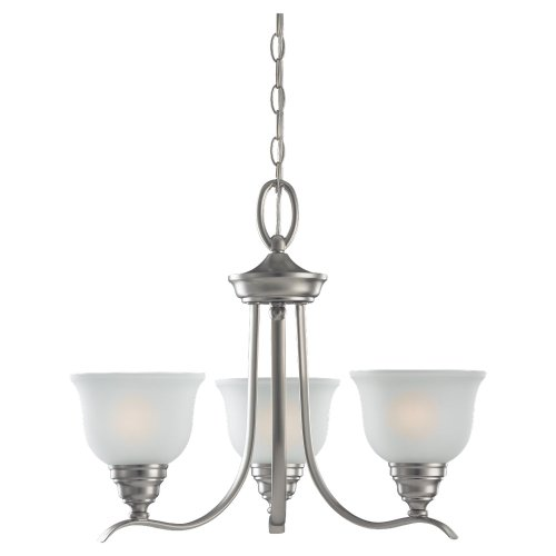 Sea Gull Lighting 31625-962 Chandelier with Satin EtchedGlass Shades, Brushed Nickel Finish