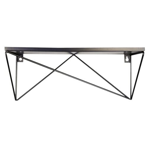 LaLe Living DURU - Estantería flotante de hierro en color negro, 1 estante para fijación a la pared, forma geométrica en diseño industrial, dimensiones de la estantería: 40 x 16 cm