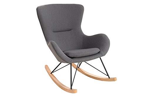 DuNord Design Schaukelstuhl Skive Schaukelsessel grau Metall Holz Sessel Wohnzimmerstuhl