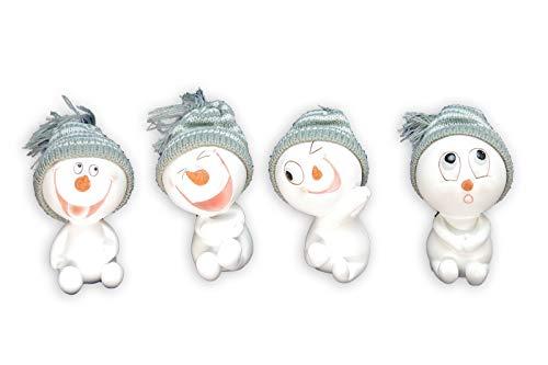 Goldbach 4X sneeuwman zittend set winter decoratie wit grijs muts H 11 cm 642012