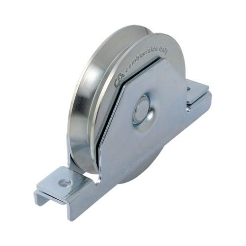 Rueda de puerta correderas y porton con soporte encastrar, diametro 120mm, para perfil en V, en acero zincado - MADE IN ITALY - precio e qualidad profesional