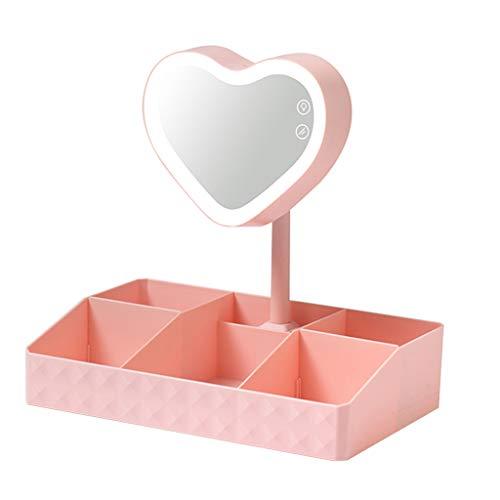 Sets et coffrets Miroir De Maquillage Multifonctionnel De Coiffeuse D'étudiant avec Boîte De Rangement À LED (Color : Pink, Size : 32 * 20 * 33.5cm)