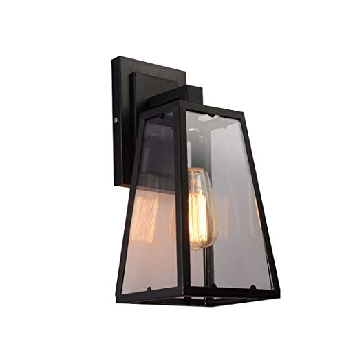 YUYAXCL Fashion Vintage Loft wandlamp metalen glazen kap wandverlichting Café Loft Bar vloerlamp E27 wandlamp creatieve retro wandbehang lamp garantie, zwart