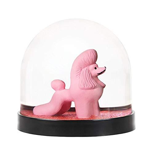 &Klevering Palla di Vetro con Neve Divertente di Alta qualità con Barboncino e Glitter, Rosa Fucsia, 8 x Ø 8.5 cm