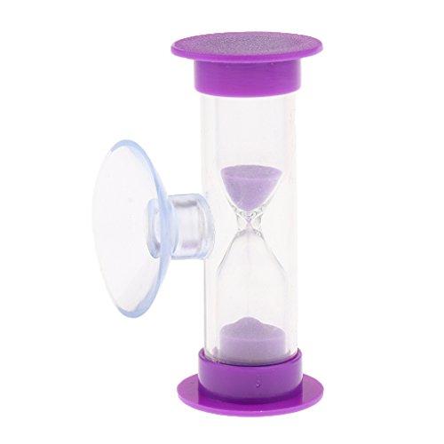Gazechimp 3 Minuten Sanduhr Zahnputzuhr mit Saugnapf, aus Acryl & Glas & Sand, Timer für Kochen, Maske, Yoga, Spielen, Zähneputzen, usw. - Lila