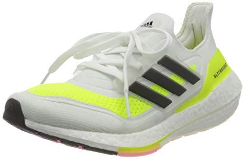 adidas Ultraboost 21, Sneaker Hombre, Footwear White/Core Black/Solar Yellow, 42 EU