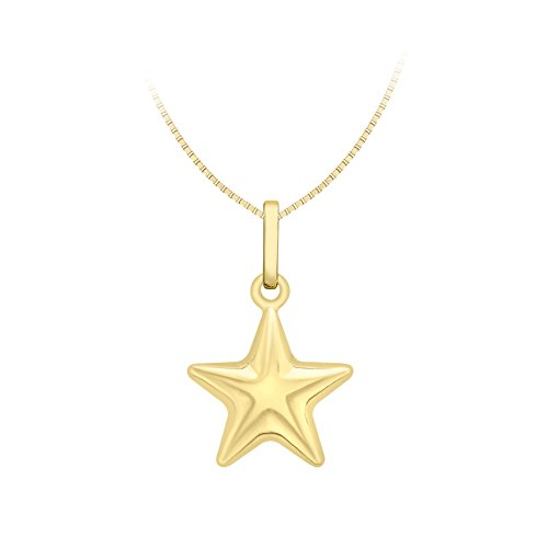 Carissima Gold 9ct Yellow Gold Star Pendant On Box Venetian Chain Necklace of 46cm/18'