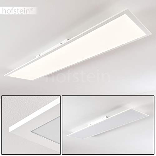 LED-plafondpaneel Antria, moderne plafondlamp van kunststof in wit, paneel met 40 Watt, 3000 Lumen, lichtkleur 4000 Kelvin, rechthoekige plafondlamp in vlakke uitvoering