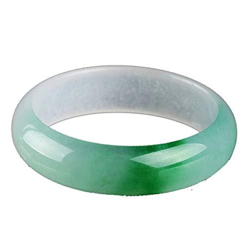 Kunze Pulsera de Jade, Brazalete de Jade de calcita de Color Verde Natural para Mujeres, Regalos de Amuleto de la Suerte