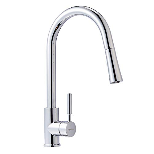 AmazonBasics Modern Single-Handled Kitchen Pull-Down Sprayer Faucet, Polished Chrome