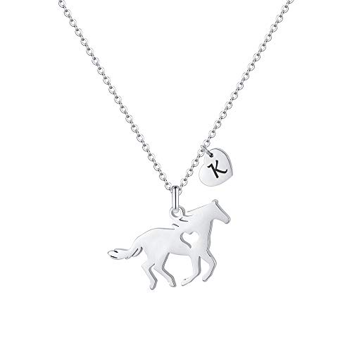 MONOOC Horse Necklace for Little Girls, Horse Alphabet Necklace Horse Lover Gifts for Kids Horse Jewelry K Necklace Initial Heart Necklace for Girls Horse Jewelry for Girls