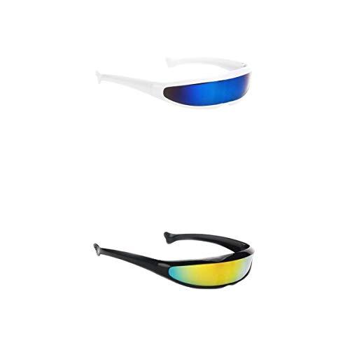 chiwanji - Juego de 2 Gafas de Sol futuristas de Color Plateado con Lentes espejadas