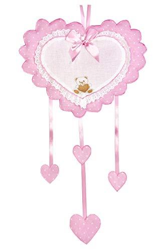 Fiocco Nascita/Coccarda Cuore Rosa con inserto in aida da ricamare a punto croce con ricamato un orsetto Lavorato del tutto a mano