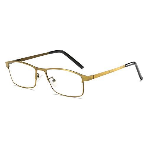 Gafas De Lectura, Estructura De Metal Bronce Antirreflejos UV para Los Ojos Gafas Luz Azul Bisagra Comfort Spring Lentes para Ojos De Presbicia Gafas para Ordenador Unisexo