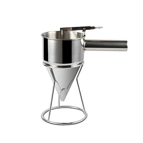 Embudo de pistón – Dispensador de embudo de acero inoxidable con estante para uso en el hogar, cocina, panadería