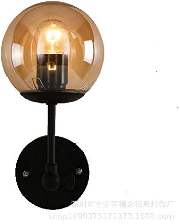 &Wandleuchten Wandleuchte Retro Wandbeleuchtung Wandlampe Set 2 Schlafzimmer Nightstand Scheune Lager Beleuchtung Eisen Glas wandleuchte badezimmer (Farbe   A)