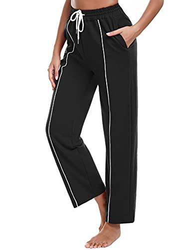 Sykooria Pantalones Deportivos para Mujer Pantalones Yoga de Algodón con Bolsillos de Sueltos Cintura Alta Pilates Correr Fitness Pijama Baile