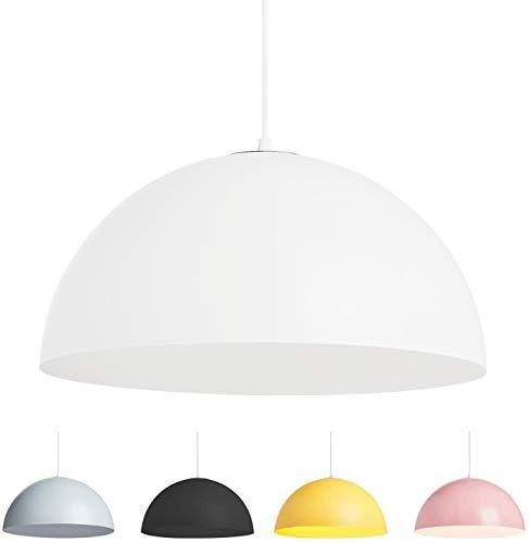 lampadario cupola Lampada a Sospensione Cupola Mezza Sfera da Soffitto Moderna Attacco E27 Paralume in Metallo Verniciato Bianco Nero Rosa Grigio Giallo (Bianco