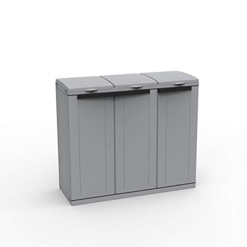 Hier passt viel rein! XXL 3-Türen Gartenschrank mit drei Halterungen für Müllsäcke und Recycling. Frontseitig und von Oben zu öffnen. In neutralem Grau.