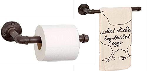 CTW Rustikaler Badezimmer-Toilettenpapierhalter 22,9 cm und Handtuchhalter, 29,5 cm Industrie-Landhaus-Look, aus Eisenrohr oder vertikaler Küchenpapierhalter und Handtuchhalter