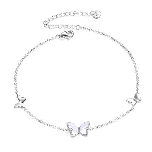 Angel Caller Schmetterling Schmuck s925 Sterling Silber Verstellbares Armbänder Fußkettchen Geschenk für Damen Frauen