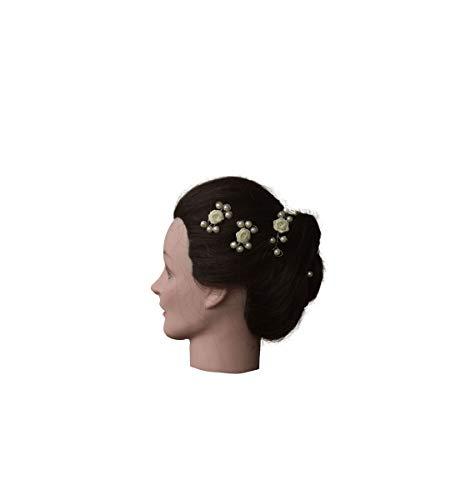 Unbekannt 15Tlg.Kopfschmuck Set Haardraht,Haarranke,Rosen&Perlen,Hochzeit, Kommunion (Champagner/Creme)