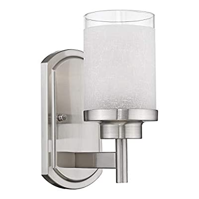 Jazava Modern Bath Vanity Light Fixture, Industrial Bathroom Wall Sconces for Living Room, Porch, Brushed Nickel Finish with White Linen Frosted Glass Shades