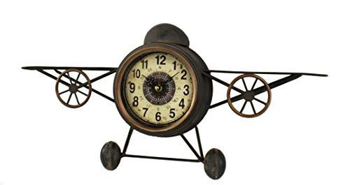 DARO DEKO Wand-Uhr Flugzeug und Kompass 30 x 61 cm