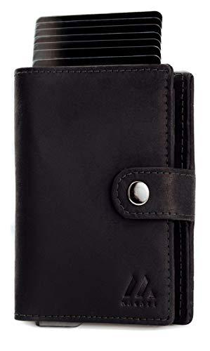 MAGATI Slim Wallet NAGA – Tarjetero con monedero – Monedero de piel, aluminio con protección RFID – hasta 12 tarjetas