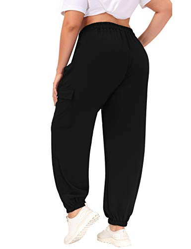 Hanna Nikole Black Cargo Pants for Women Elastic Waistband Drawstring Pocket Baggy Jogger 20W