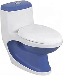 Preks Bathroom Western One-Piece Toilet Commode (S-Trap, Blue)