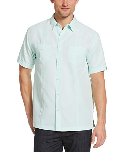 Cubavera Men's Two-Pocket Double Pintuck Short Sleeve Button-Down Shirt, Fair Aqua, XX Large